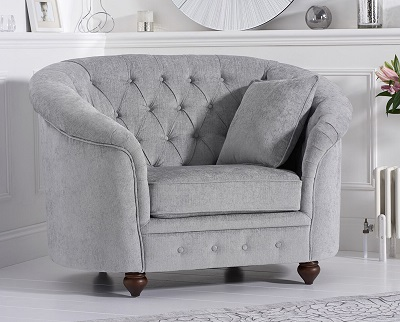 Casey Plush Chesterfield Armchair Grey