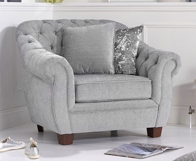 Liv Plush Chesterfield Armchair Grey