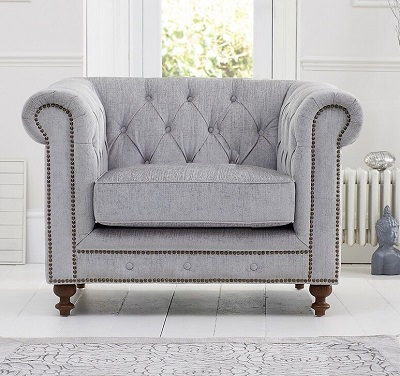 Montrose Fabric Chesterfield Armchair Grey