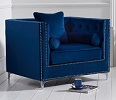 New England Velvet Armchair Blue
