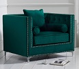 New England Velvet Armchair Green