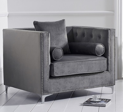New England Velvet Armchair Grey