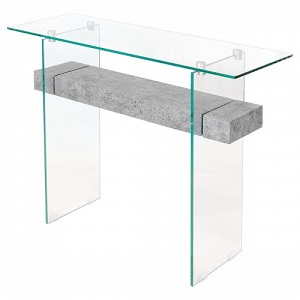 Glass Stone Console Table