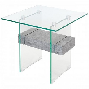 Glass Stone Lamp Table