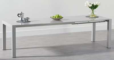 Jamie Extending Light Grey High Gloss Dining Table