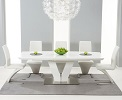 Malibu Extending White High Gloss Dining Table shown with Hereford Chairs
