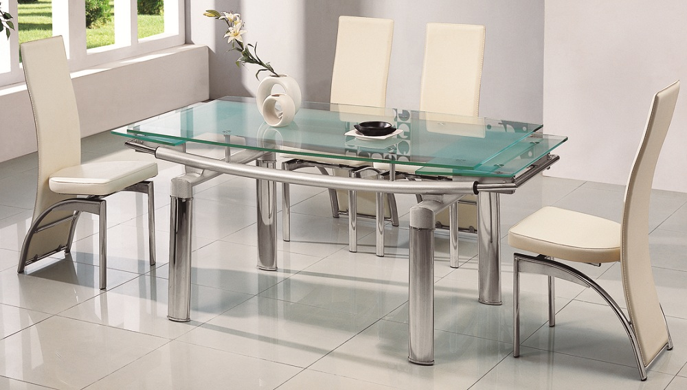 Delta Extending Glass Dining Table & 6 Chairs | Glass Dining ...