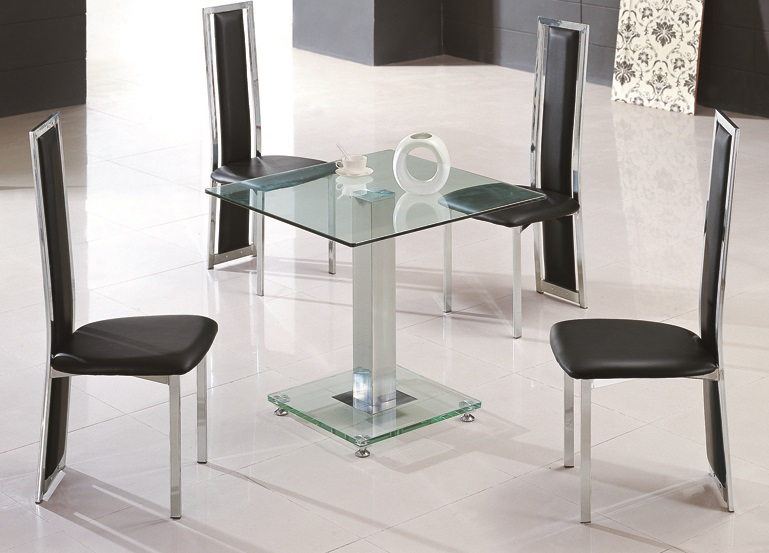 jet square glass dining table 4 chairs glass dining