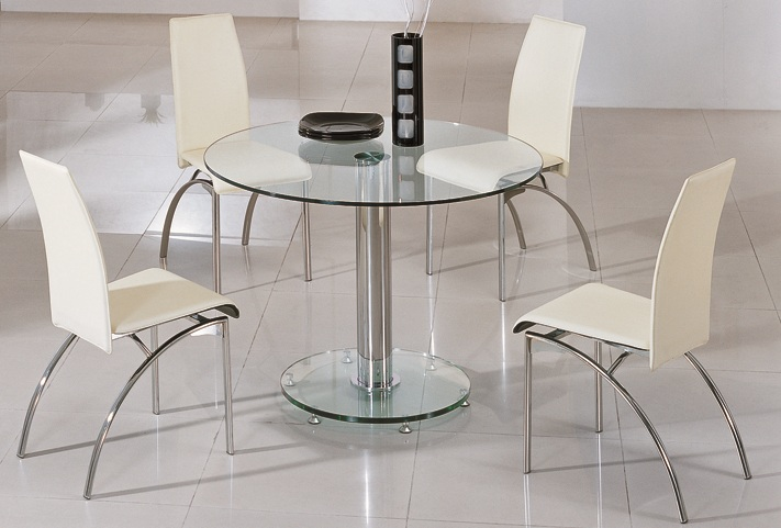 Round Glass Dining Table 4 Chairs Glass Dining Tables And Dining