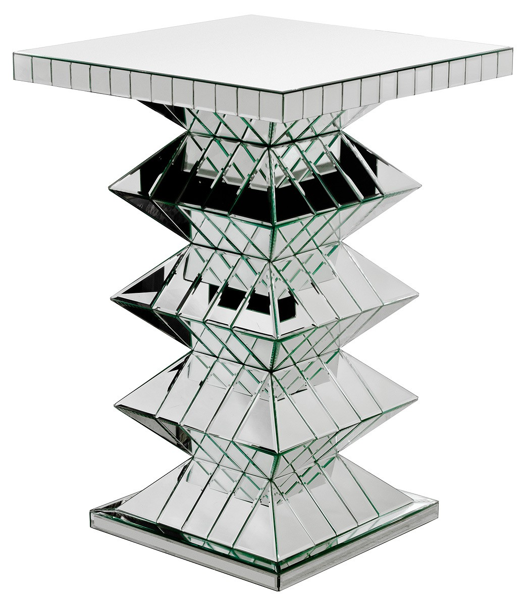 Pagoda Mirrored Pedestal Table Mirrored Pedestal Table