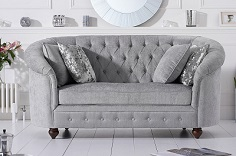 Casey Chesterfield Plush 2 Seater Sofa Grey