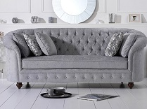 Casey Chesterfield Plush 3 Seater Sofa Grey