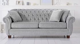 Liv Chesterfield Plush 3 Seater Sofa Grey