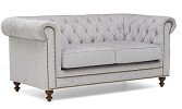 Montrose Chesterfield Fabric 2 Seater Sofa Grey Side View