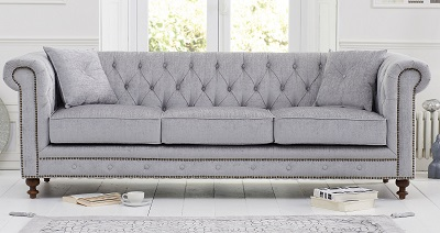 Montrose Chesterfield Fabric 3 Seater Sofa Grey