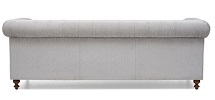 Montrose Chesterfield Fabric 3 Seater Sofa Grey Back View
