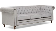 Montrose Chesterfield Fabric 3 Seater Sofa Grey Side View