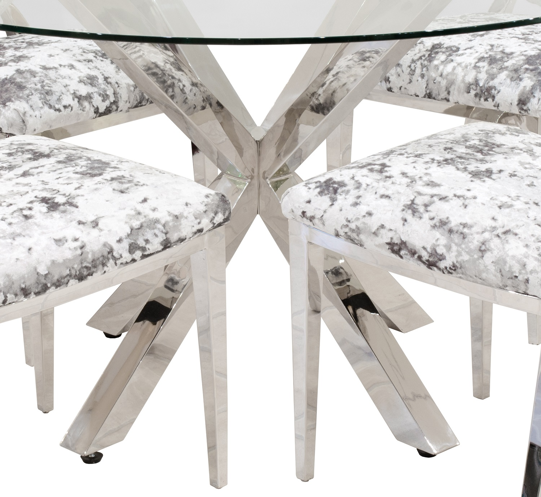 Glass Dining Tables Uk Tonelli Bacco Glass Dining Table  : crosslyglasstoprounddiningtablelegs from amlibgroup.com size 1500 x 1378 jpeg 439kB
