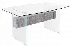 Glass Stone Glass Dining Table