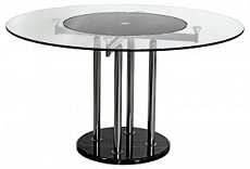 Lazy Susan Round Glass Dining Table