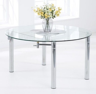 Millennium Round Glass Extending Dining Table