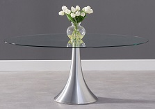 Pria Oval Glass Dining Table